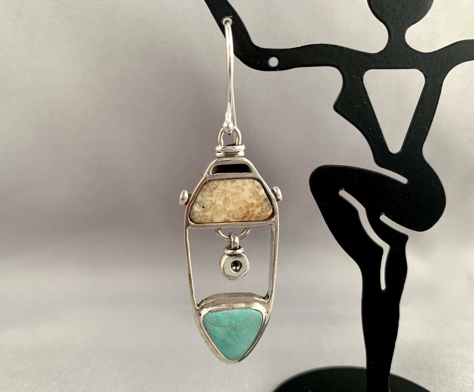 """Fossil Walrus Ivory and Turquoise Earrings"" (#215)"