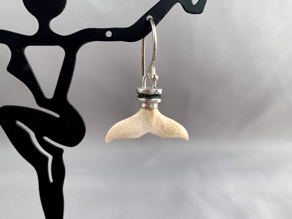 """Fossil Mammoth Ivory Whale Fluke Earrings"" (#216)"
