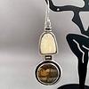 Fossil Walrus Ivory and Jasper Earrings #213 - SOLD