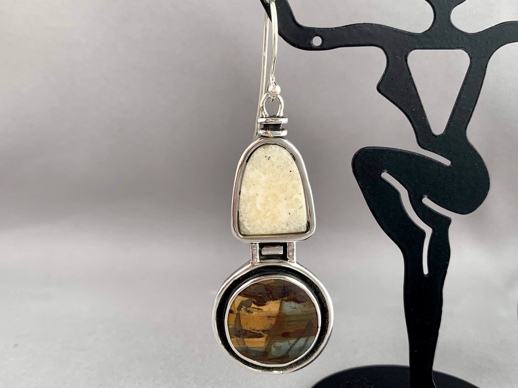 """Fossil Walrus Ivory and Jasper Earrings"" (#213)"