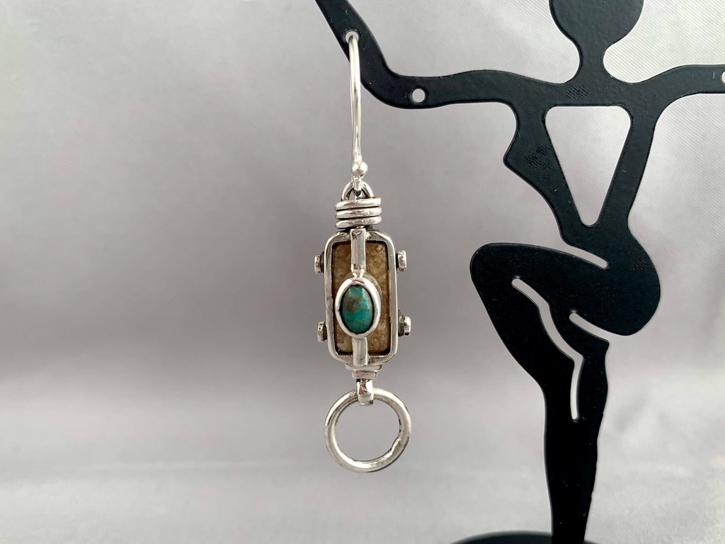 """""""Fossil Walrus Ivory and Turquoise Earrings"""" (#211)"""