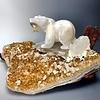 Stella - Selenite Bear on Citrine Geode Sculpture #222
