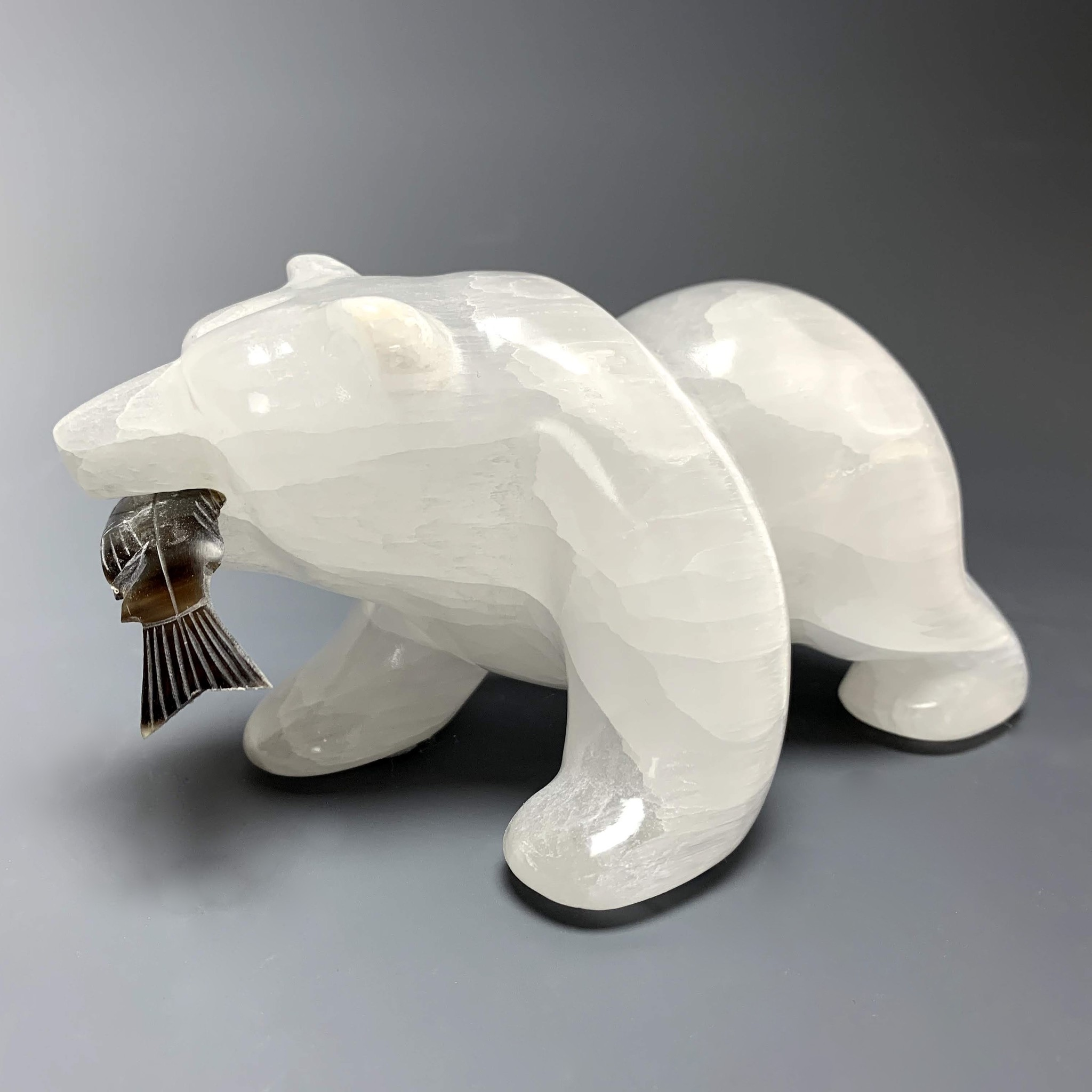 Sammy- Selenite Carved Bear Sculpture  #223