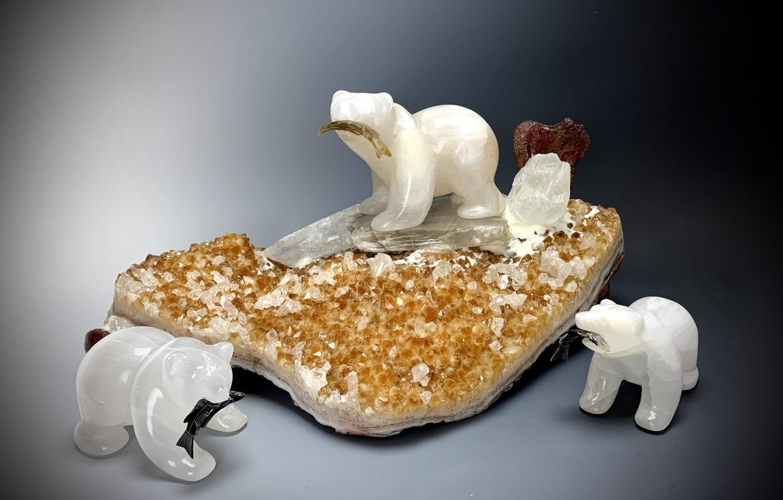 """Stella"" Selenite Bear on Citrine Geode Sculpture (#222)"