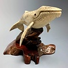 - Harmony - The Humpback Whale Carved from Fossilized Walrus Jawbone Sculpture #227