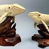 """""""Harmony"""" Humpback Whale Carved from Fossilized Walrus Jawbone Sculpture (#227)"""
