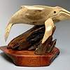 """Harriet"" Humpback Whale Carved from Fossilized Walrus Jawbone Sculpture (#228)"