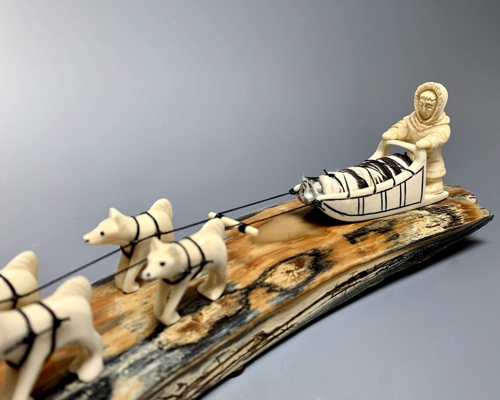 Dog Sled- Fossilized Mammoth Ivory Sculpture #245