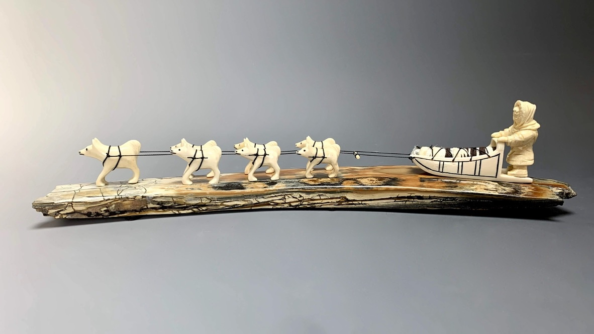 -Dog Sled- Fossilized Mammoth Ivory Sculpture #245