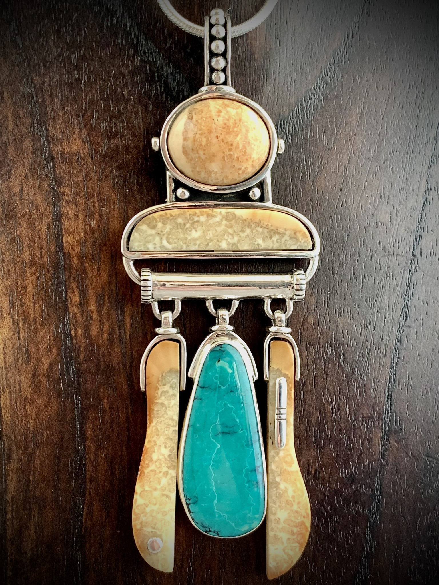 Fossil Walrus Ivory & Turquoise Pendant #242 - SOLD