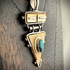 -Triangle Fossil Walrus Ivory and Turquoise Pendant #243