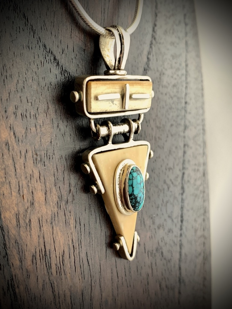 """""""Triangle Fossil Walrus Ivory and Turquoise Pendant"""" (#243)"""