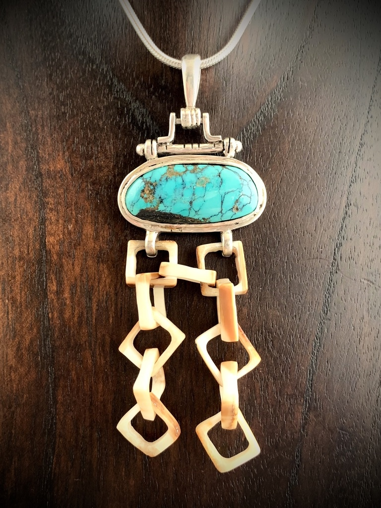 Turquoise and Fossil Walrus Ivory Link Pendant #244