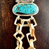 - Turquoise and Fossil Walrus Ivory Link Pendant #244