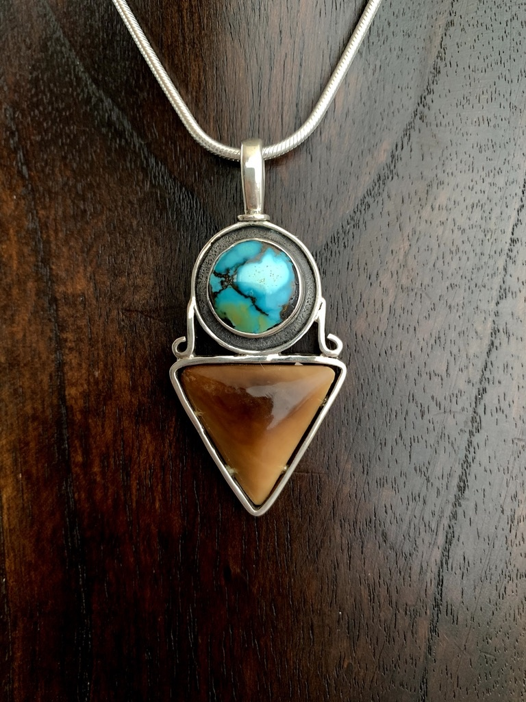 Turquoise and Fossil Mammoth Ivory Pendant #250