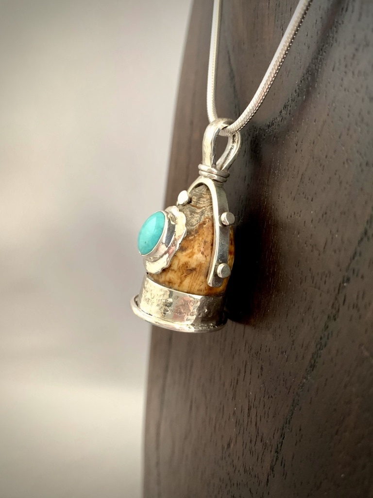 - Turquoise Fossil Walrus Tooth Pendant #251