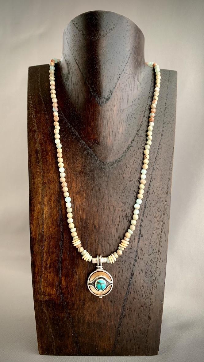 - Ocean Jasper, Fossil Walrus, Turquoise Necklace #254