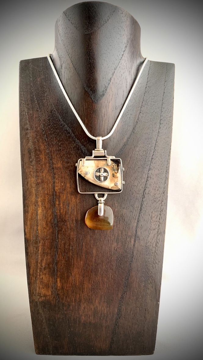 - Fossil Mammoth Molar and Amber Pendant #256
