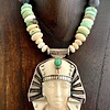 King Tut, Fossil Walrus Ivory, Turquoise Necklace #262