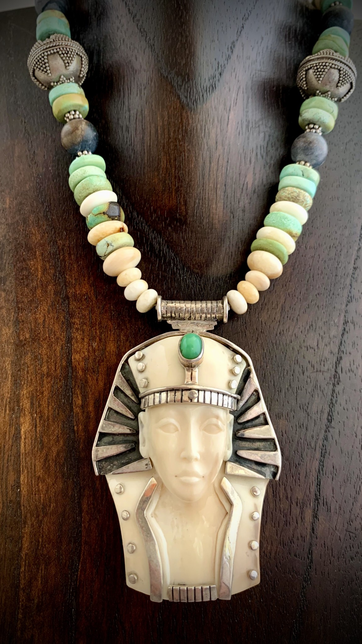 - King Tut, Fossil Walrus Ivory, Turquoise Necklace (#262)