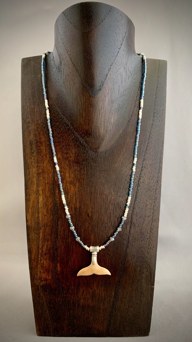 - Sea bead and Fossil Mammoth Ivory Whale Fluke Necklace #263