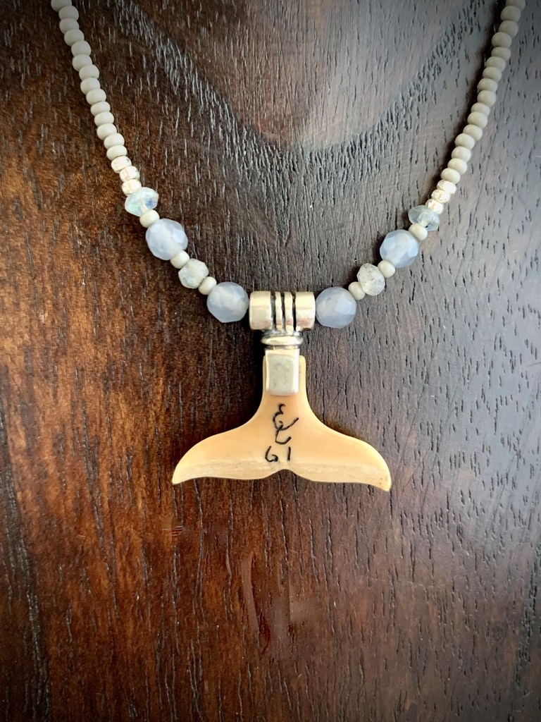 Sea bead and Fossil Mammoth Ivory Whale Fluke Necklace #265