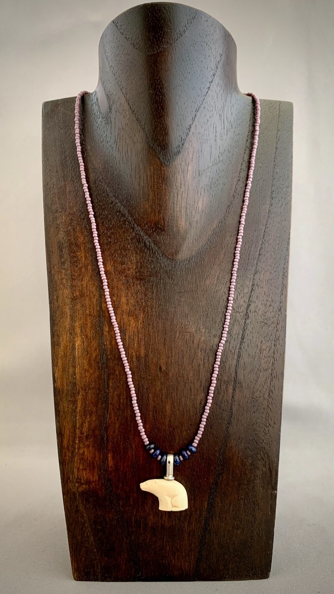 Sea bead and Fossil Mammoth Ivory Bear Necklace #267