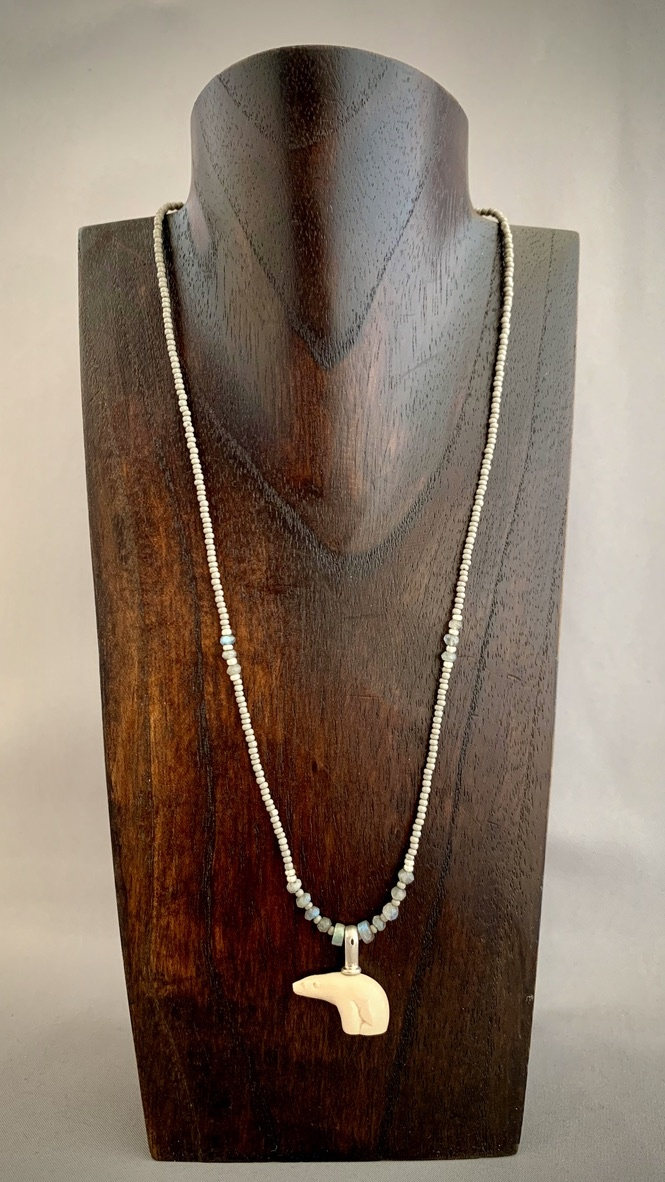 - Sea Bead and Fossil Mammoth Ivory Bear Necklace #268