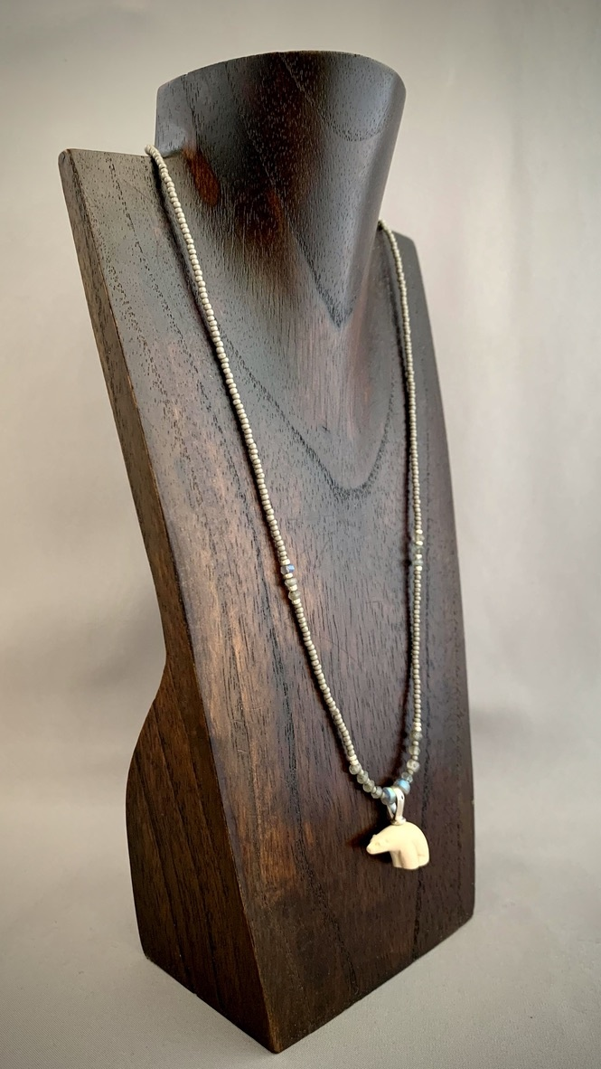 Sea Bead and Fossil Mammoth Ivory Bear Necklace #268