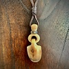 - Fossil Walrus Tooth Link Carving Pendant and Leather Necklace #270