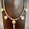 Spike Necklace - Fossil Walrus and Mammoth Ivory, Turquoise #272