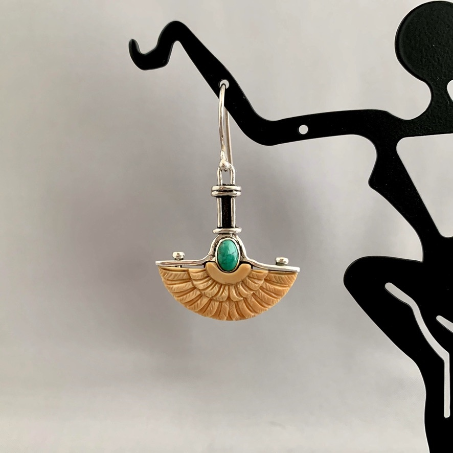 - Wings Earrings - Fossil Mammoth Ivory and Turquoise  #276