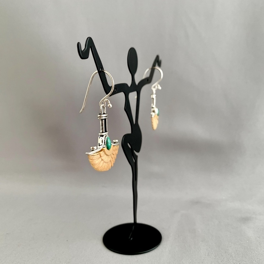 Wings Earrings - Fossil Mammoth Ivory and Turquoise  #276