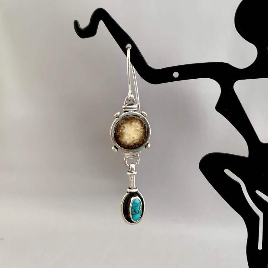 - Fossil Walrus Ivory and Turquoise Earrings #274