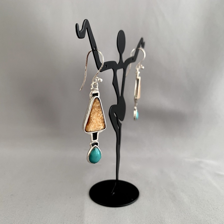 - Fossil Walrus Ivory and Turquoise Earrings #277