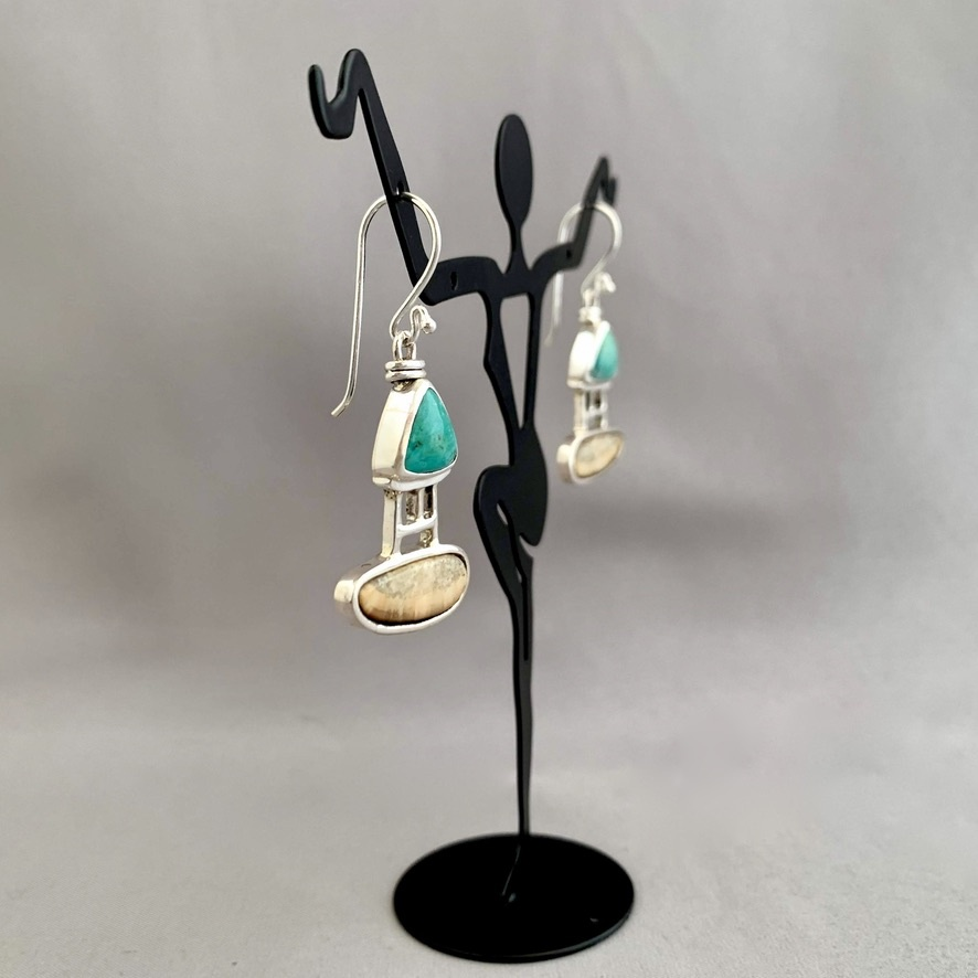 Fossil Walrus Ivory and Turquoise Earrings #280