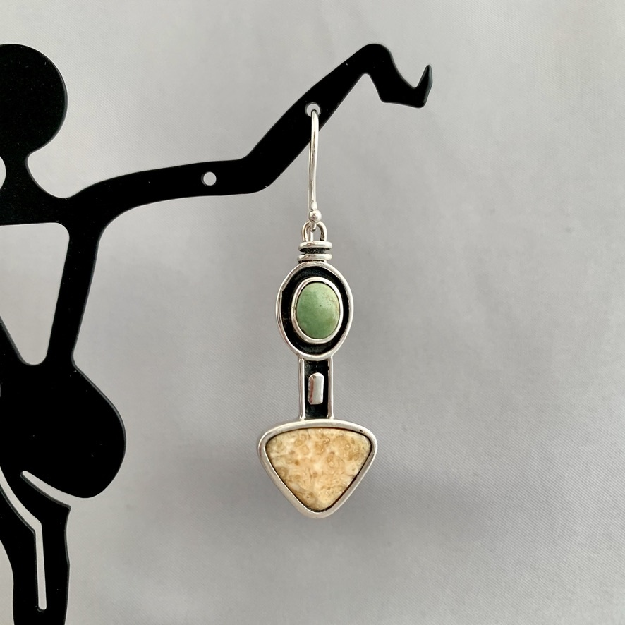 Chrysoprase and Fossil Walrus Ivory Earrings #283