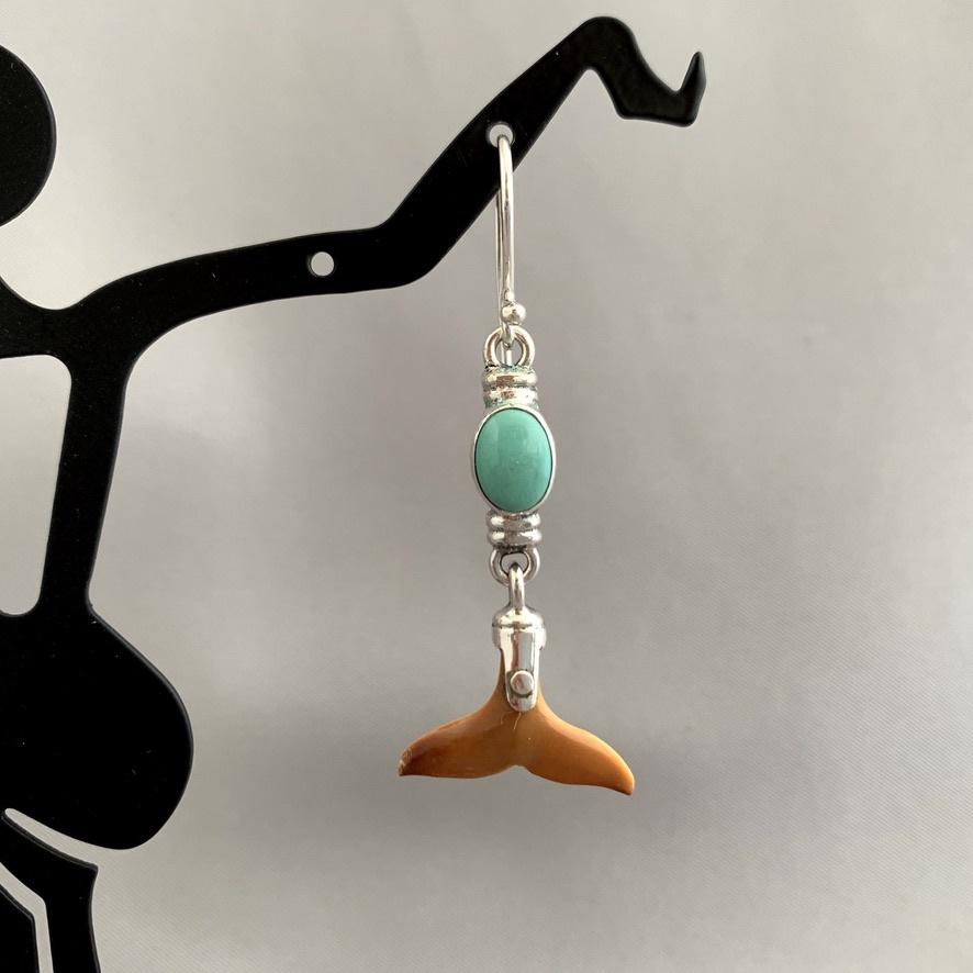 - Whale Fluke - Fossil Mammoth Ivory Earrings #284