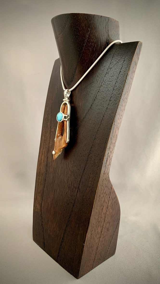 - Artifact Pendant - Fossil Walrus Ivory and Turquoise #289