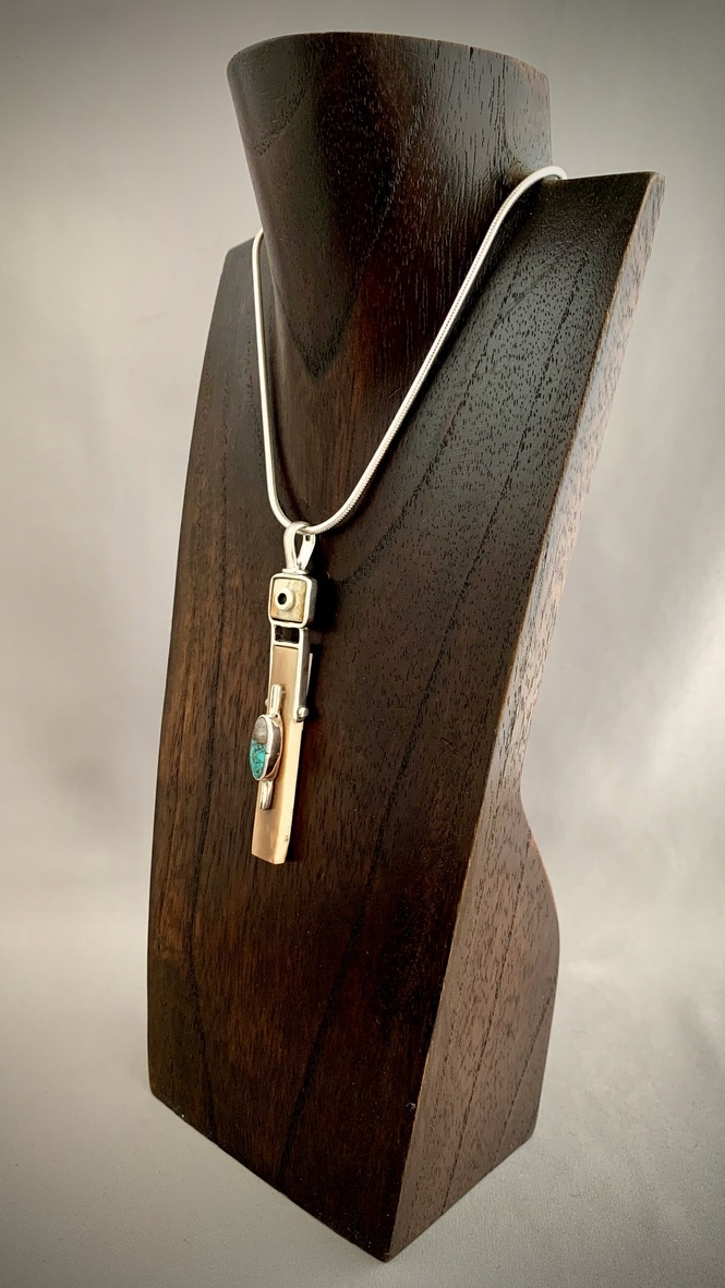 - Turquoise and Fossil Ivory Pendant #290