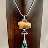 Turquoise and Fossil Mammoth Ivory Pendant #291