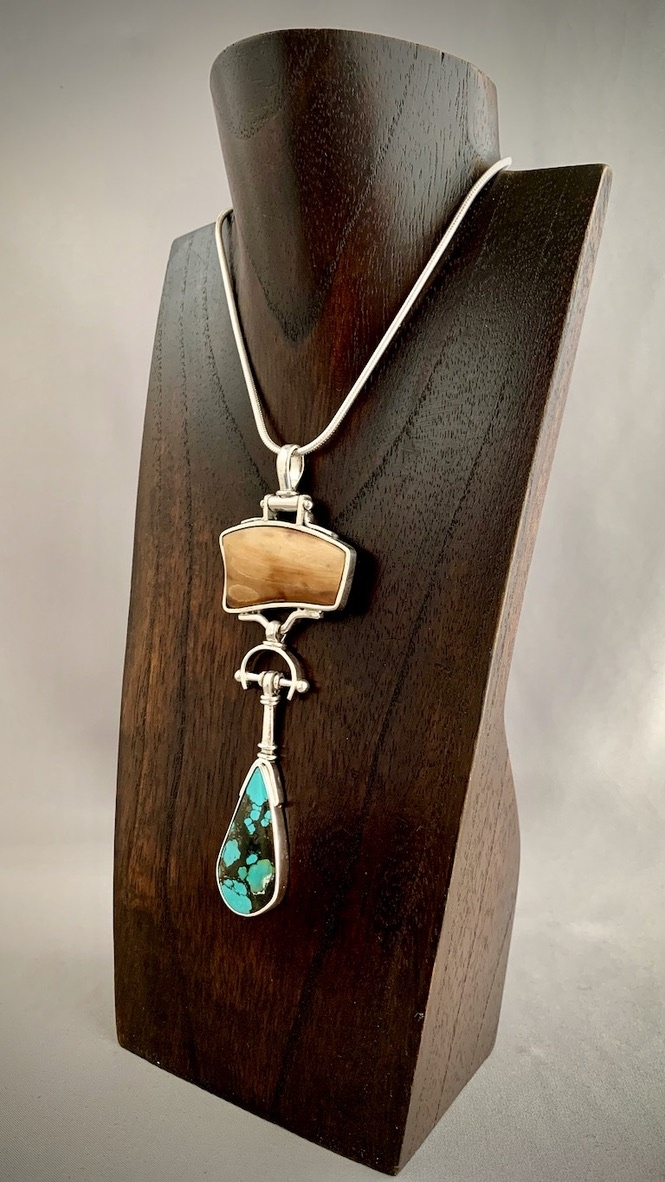- Turquoise and Fossil Mammoth Ivory Pendant #291