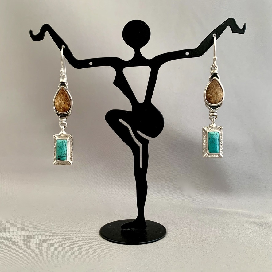 - Fossil Walrus Ivory and Turquoise Earrings #278
