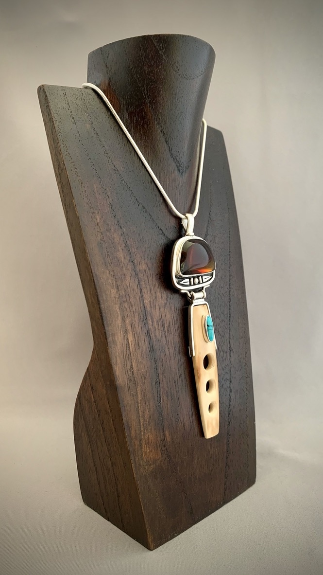 - Amber, Turquoise, and Fossil Mammoth Ivory Pendant #287