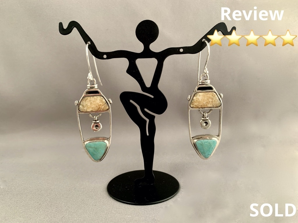 Fossil Walrus Ivory and Turquoise Earrings #215