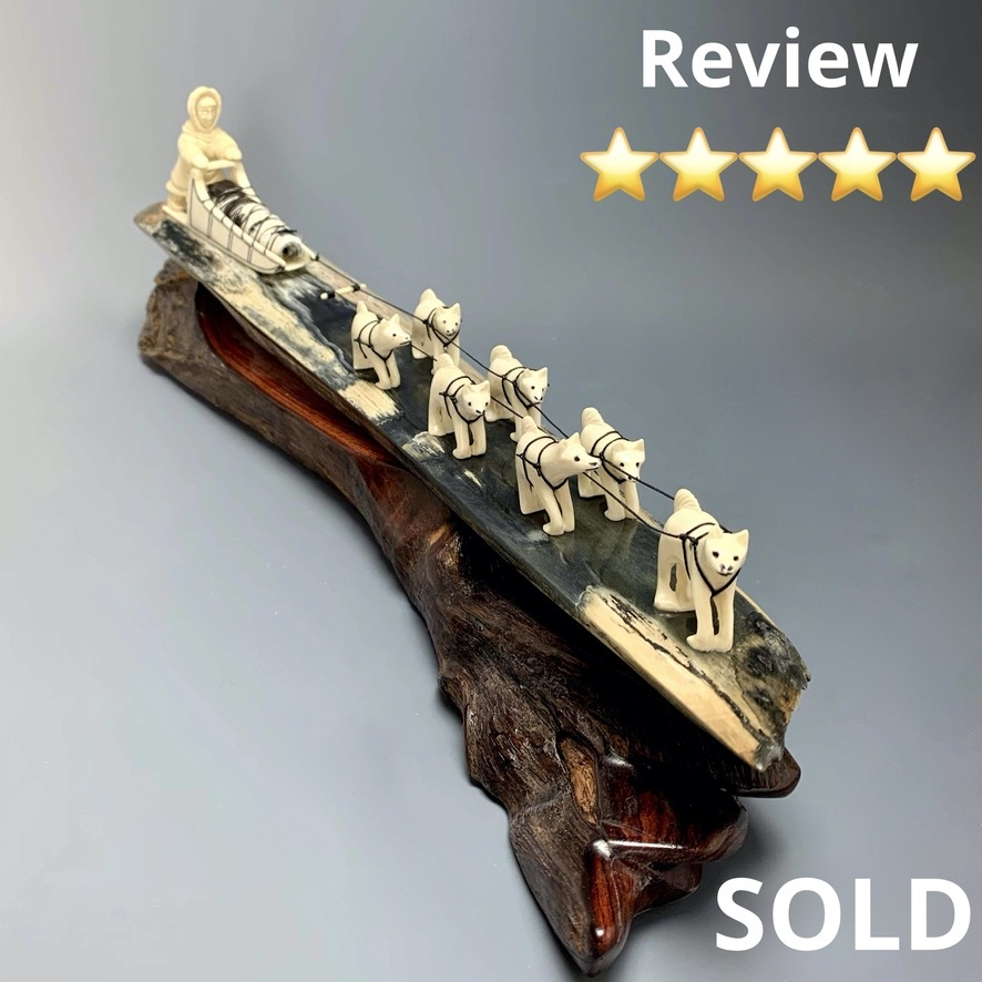 - Dog Sled - Fossilized Mammoth Ivory Sculpture #246