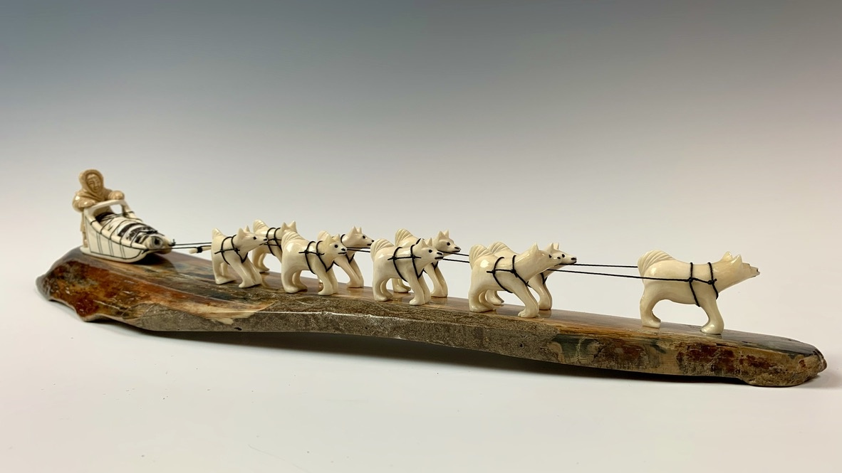 - Dog Sled - Fossilized Mammoth Ivory Sculpture #340