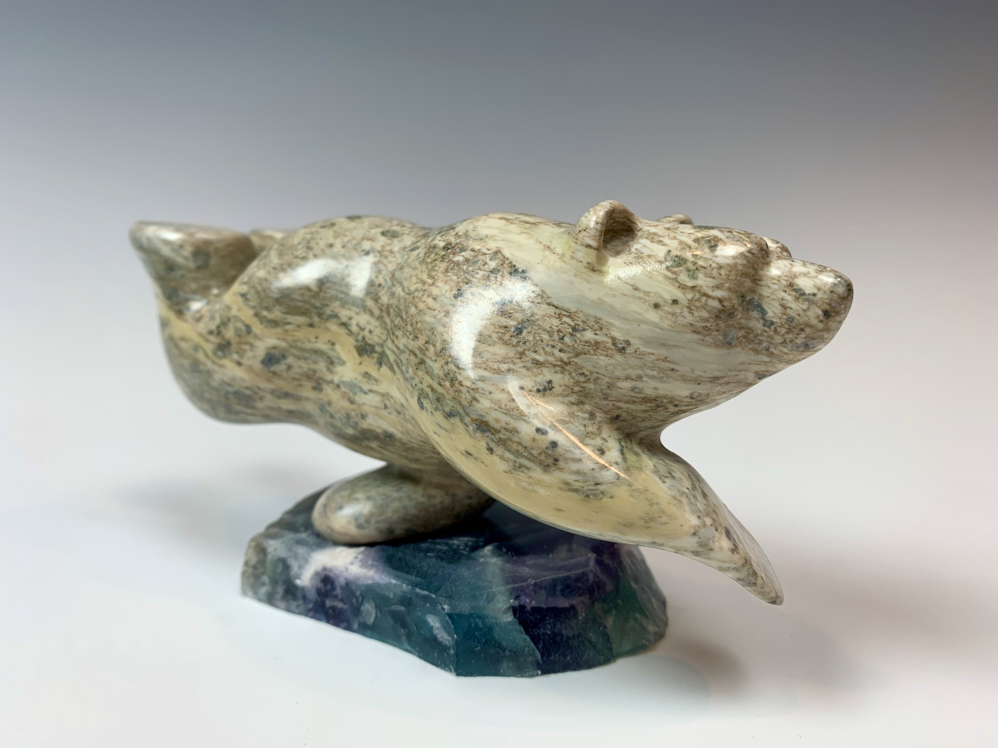 Zella - Soapstone Swimming Bear #353