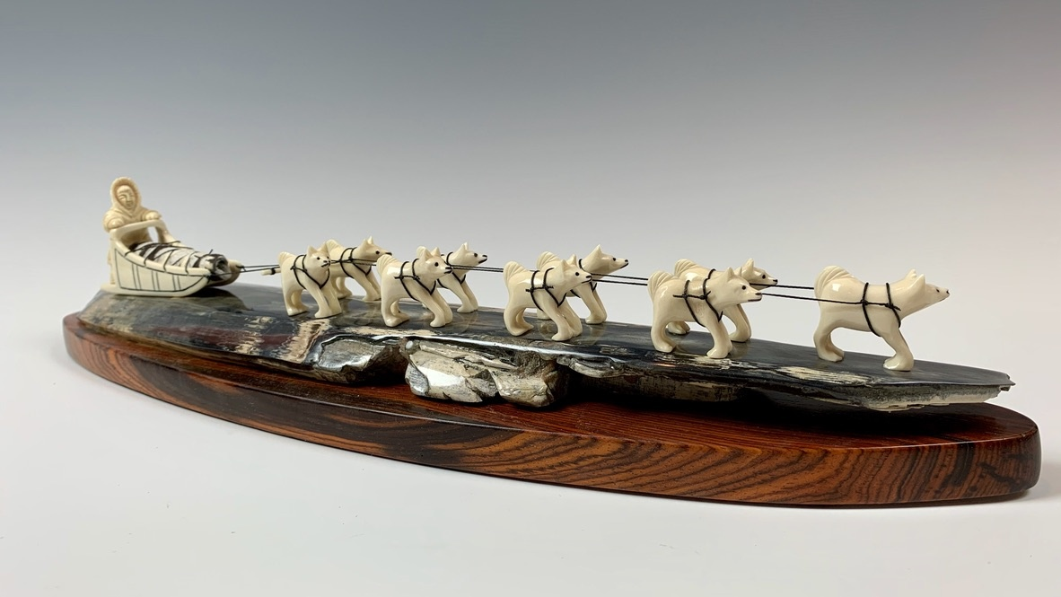 Dog Sled - Fossilized Mammoth Ivory Sculpture #339