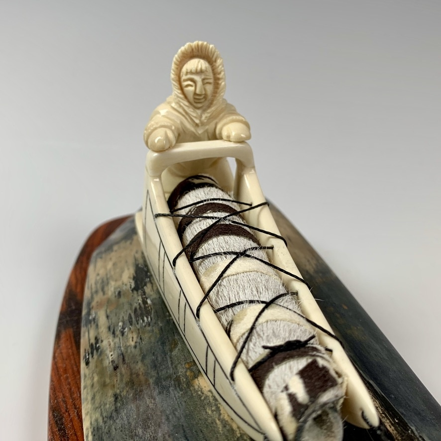 - Dog Sled - Fossilized Mammoth Ivory Sculpture #339